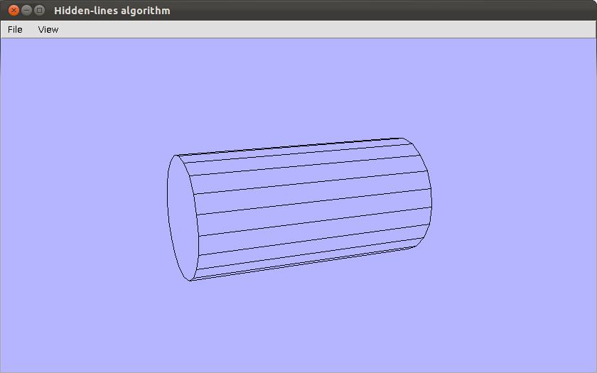 Cylinder displayed with hidden line elimination
