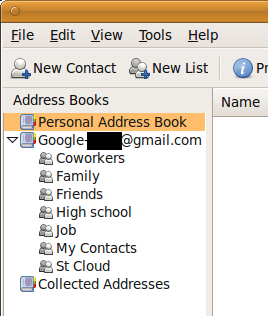 Screenshot of the Google Contacts address book in Thunderbird